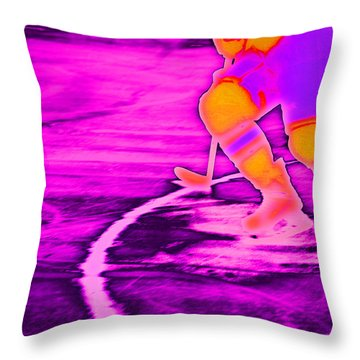 Hockey Freeze Throw Pillow by Karol Livote