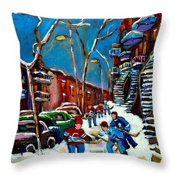 Hockey Game On De Bullion Montreal City Scene Throw Pillow by Carole Spandau
