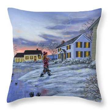 Hockey Girl Throw Pillow by Richard De Wolfe