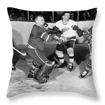 Hockey Goalie Chin Stops Puck Throw Pillow