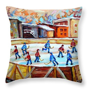 Hockey In The City Outdoor Hockey Rink Montreal Memories Winter City Scenes Painting Carole Spandau  Throw Pillow by Carole Spandau