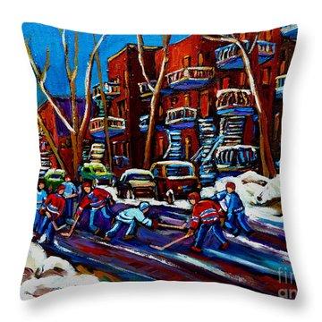 Hockey On De Bullion Montreal Throw Pillow by Carole Spandau