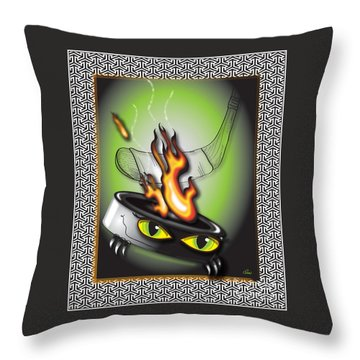 Hockey Puck In Flames Throw Pillow
