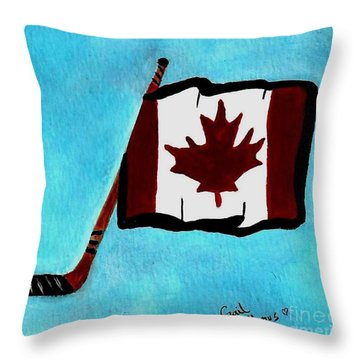 Hockey Stick With Canadian Flag Throw Pillow by Gail Matthews