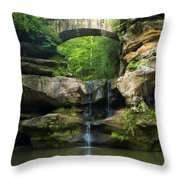 Hocking Hills Waterfall 1 Throw Pillow