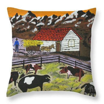 Throw Pillow featuring the painting Hog Heaven Farm by Jeffrey Koss