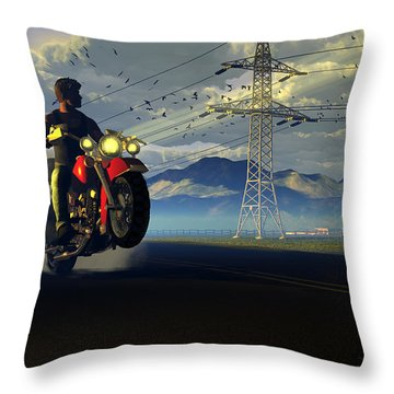 Hog Rider Throw Pillow by Dieter Carlton
