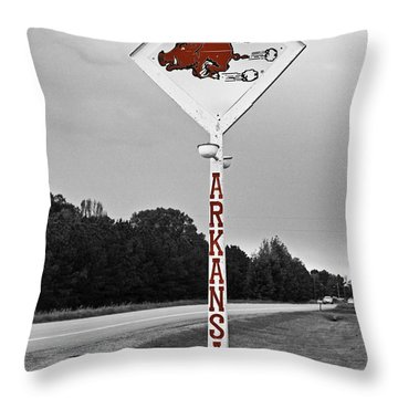 Hog Sign - Selective Color Throw Pillow
