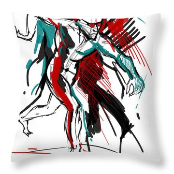 Throw Pillow featuring the painting Hogarth Holiday by John Jr Gholson