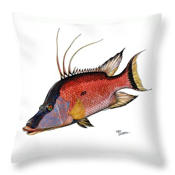Throw Pillow featuring the painting Hogfish On White by Steve Ozment