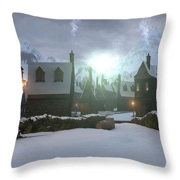 Hogsmeade Throw Pillow by Cynthia Decker
