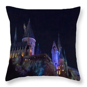 Hogwarts Castle At Night Throw Pillow