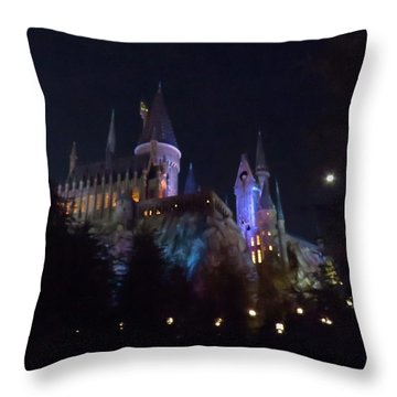 Hogwarts Castle In Lights Throw Pillow