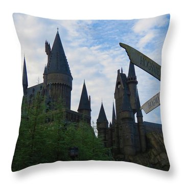 Hogwarts Castle With Signs Throw Pillow