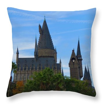 Hogwarts Castle With Towers Throw Pillow