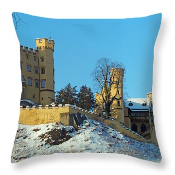 Hohenschwangau Castle Panorama In Winter Throw Pillow by Rudi Prott