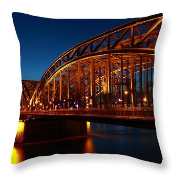 Throw Pillow featuring the photograph Hohenzollern Bridge by Mihai Andritoiu