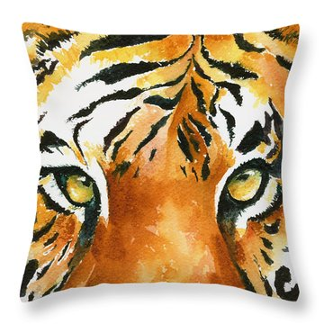 Hold That Tiger Throw Pillow by Karen Mattson