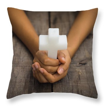 Holding A Religious Cross Throw Pillow