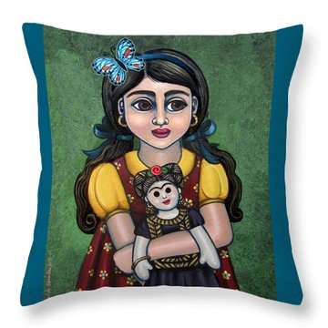 Holding Frida With Butterfly Throw Pillow by Victoria De Almeida