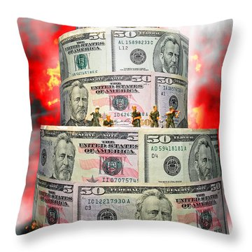 Holding The Financial Fort Throw Pillow by Olivier Le Queinec