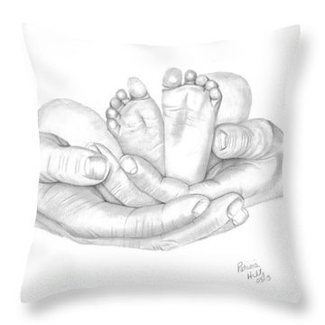 Throw Pillow featuring the drawing Holding The Future by Patricia Hiltz