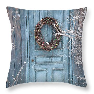 Barn Door And Holiday Wreath/digital Painting Throw Pillow