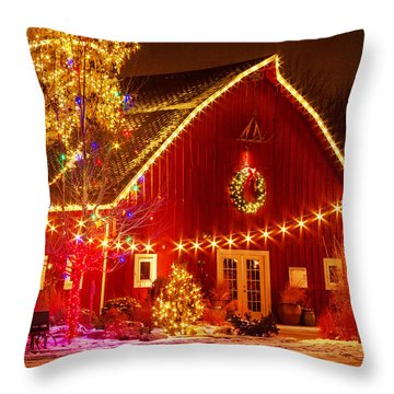 Holiday Barn Throw Pillow by Teri Virbickis