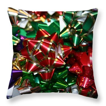 Holiday Bows Throw Pillow by Denyse Duhaime