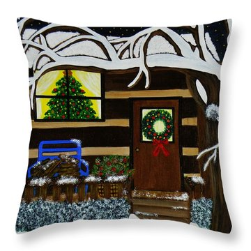 Holiday Cabin Throw Pillow by Celeste Manning