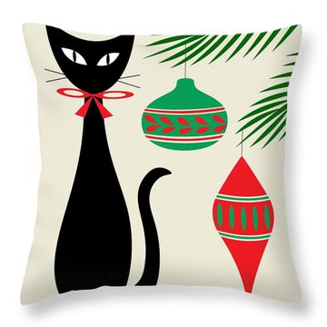 Holiday Cat On Cream Throw Pillow