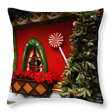 Holiday Cottage Throw Pillow by Anne Rodkin