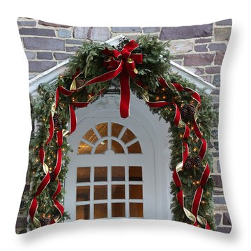 Throw Pillow featuring the photograph Holiday Door Wreath by Ann Murphy