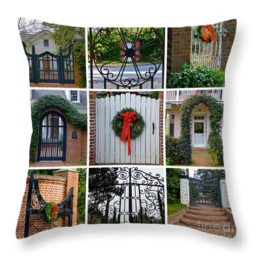 Holiday Gates Of Aiken's Winter Colony Throw Pillow