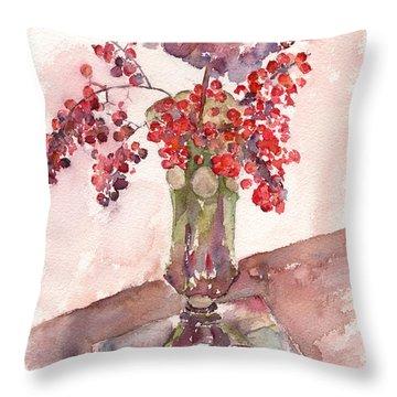 Holiday Hydrangea Throw Pillow