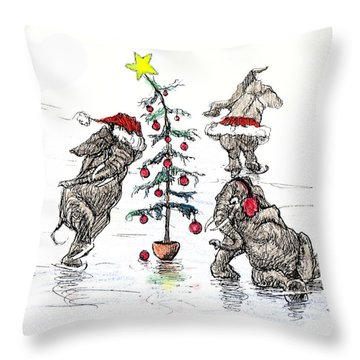 Holiday Ice Throw Pillow by Donna Tucker