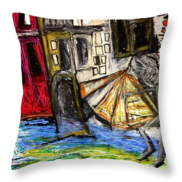 Holiday In Venice Throw Pillow by Helen Syron