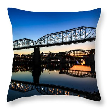Holiday Lights Chattanooga Throw Pillow