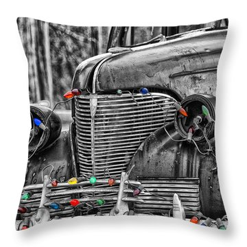 Holiday Lights On Old Truck Throw Pillow by Birgit Tyrrell