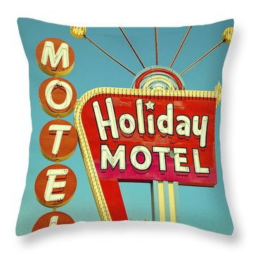 Holiday Motel Neon Sign Throw Pillow