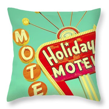 Holiday Motel Sign Throw Pillow