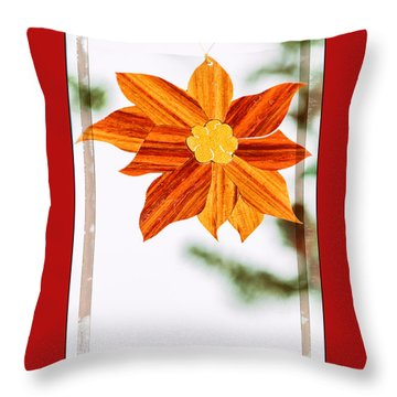 Holiday Pointsettia Art Ornament In Red Throw Pillow