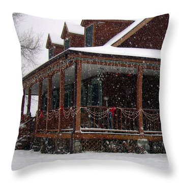 Holiday Porch Throw Pillow