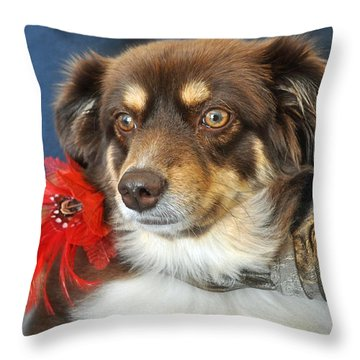 Holiday Portrait Throw Pillow by Gwyn Newcombe