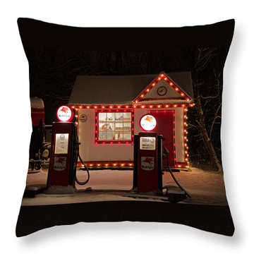 Holiday Service Station Throw Pillow by Susan  McMenamin