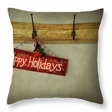 Holiday Sign On Antique Plaster Wall Throw Pillow