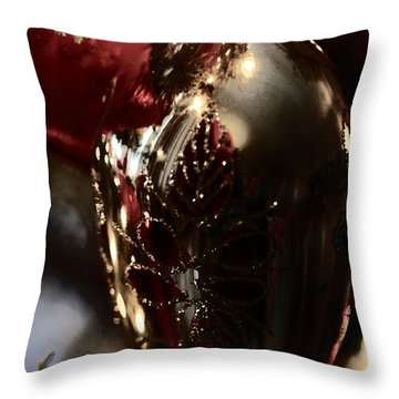 Throw Pillow featuring the photograph Holiday Sparkle In Red by Linda Shafer