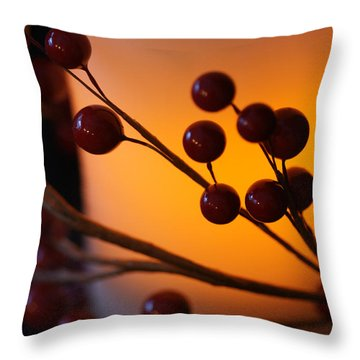Throw Pillow featuring the photograph Holiday Warmth By Candlelight 1 by Linda Shafer