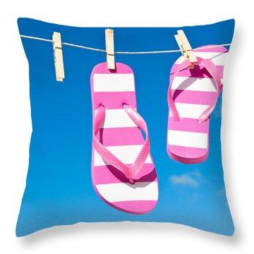 Holiday Washing Line Throw Pillow by Amanda Elwell