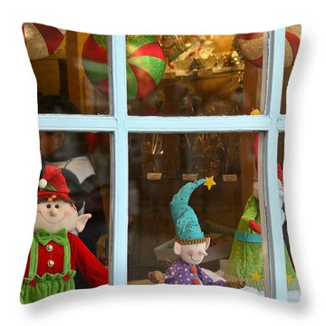 Throw Pillow featuring the photograph Holiday Window by Ann Murphy